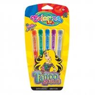 5 Długopisów żelowych brokatowych Colorino Tattoo do tatuaży