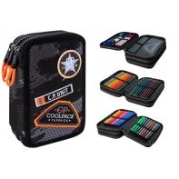 Potrójny piórnik z wyposażeniem Coolpack Jumper 3, Black Badges B67152