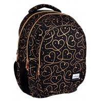 Trzykomorowy plecak szkolny młodzieżowy Astra Head, GOLDEN HEARTS